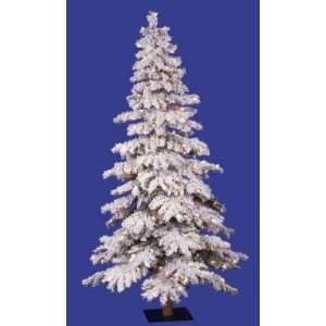 Pre Lit Flocked Spruce Alpine Christmas Tree   Clear Lights