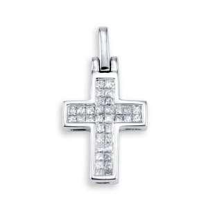 14k White Gold Princess Cut Diamond Cross Charm Pendant
