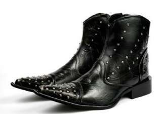 Men Fashion Ankle Boots Shoes Italian Style Punk Rock Studded Shoes