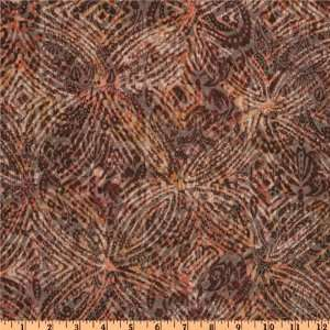 60 Wide Designer Printed Rayon Blend Jersey Knit Mosiac Brown/Orange