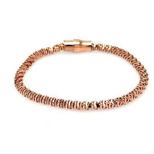 Bracelets Rose Gold Plated Diamond Cut Magnet Lock Bracelet 7.5 Inches