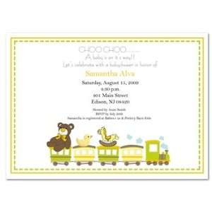 Choo Choo Train Baby Shower Invitiation (Neutral): Baby