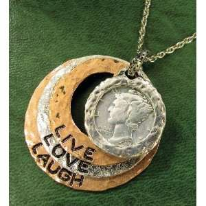 Silver Mercury Dime Tri Color Live/Love/Laugh Circle Pendant