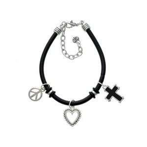 simple border Black Peace Love Charm Bracelet Arts, Crafts & Sewing