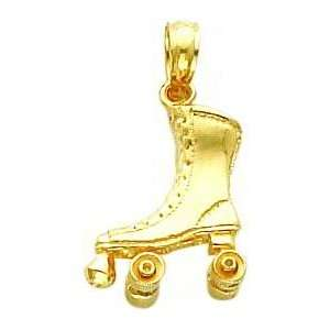 14K Gold 3D Roller Skate Charm Jewelry