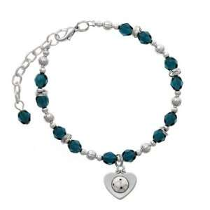 in Heart Navy Czech Glass Beaded Charm Bracelet [Jewelry] Jewelry