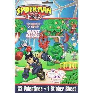 Spiderman & Friends Valentines Day Cards 32 Count Box Toys & Games
