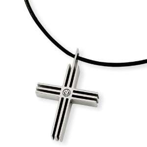 Stainless Steel CZ Cross Pendant Necklace Jewelry