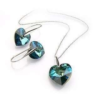 Carribean Blue Crystal Heart Earrings and Pendant Set Used Swarovski
