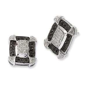 Sterling Silver Black & White Diamond Earrings Jewelry