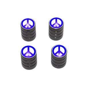Peace Sign Blue   Tire Rim Valve Stem Caps   Black Automotive