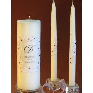 Red Swarovski Crystal Piazza Lace Unity Candle & Matching Tapers