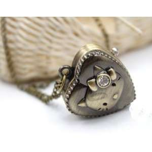 Kitty Carved Love Heart Shape Pocket Watch Necklace
