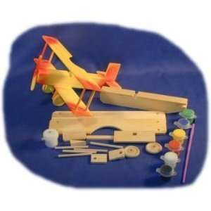 Biplane Wood Craft Kit with Paint, Glue and Brush: Toys