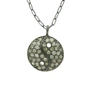 Silver Yin Yang Charm Pendant with Fancy Color Diamonds Jewelry