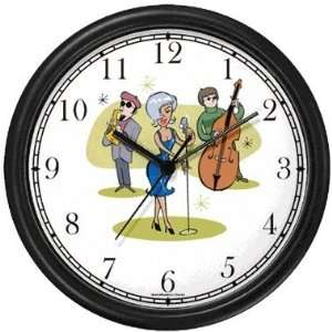 Jazz Musician Wall Clock by WatchBuddy Timepieces (White Frame) Home