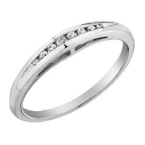 Diamond Wedding Ring in 10K White Gold, Size 7.5: Jewelry