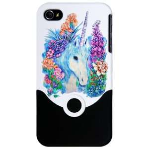 iPhone 4 or 4S Slider Case White Unicorn in Flowers