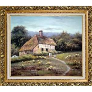 Small Old House Oil Painting, with Ornate Antique Dark Gold Wood Frame