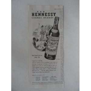 Hennessy Cognac Brandy. Vinage 30s prin ad. black and