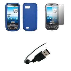 Samsung Galaxy i7500   Electric Blue Soft Silicone Gel Skin Cover Case