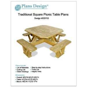 Traditional Square Picnic Table / Benches Woodworking