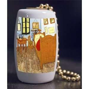 Fine Art Van Gogh Bedroom in Arles Porcelain Fan / Light Pull