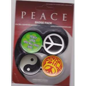 Peace Official 4 Piece Button / Badge Pack Everything
