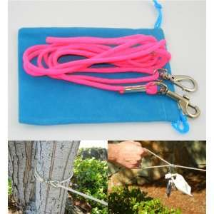 LeashInaBag 6 Ft. Neon Pink Paracord Leash with a Sky Blue