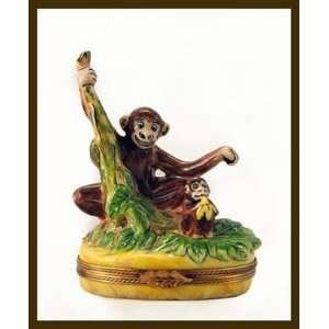 Mother Monkey W Cute Baby Monkey French Limoges Box: Home