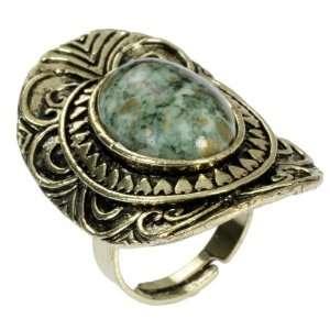 Designer Cocktail Finger Ring with Light Green Stone