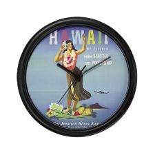 Hawaii By Clipper Panam Poster Wall Clock