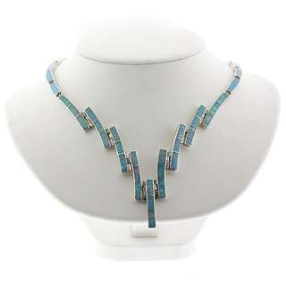 Silver Jewelry Necklaces Mexican Blue Fire Opal Silver Necklace