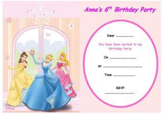 PERSONALISED DISNEY PRINCESS PARTY INVITATIONS x 10