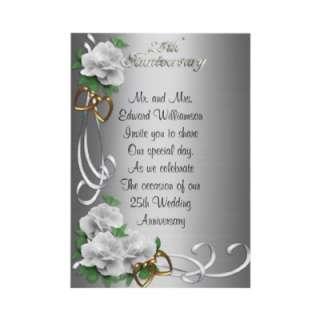 25 Anniversary invitation white roses silver satin from Zazzle