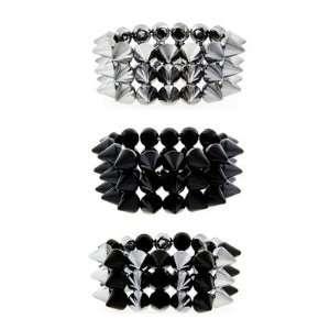 Three Rowed Silver Plastic Spike Bracelet   Spikes 14mm