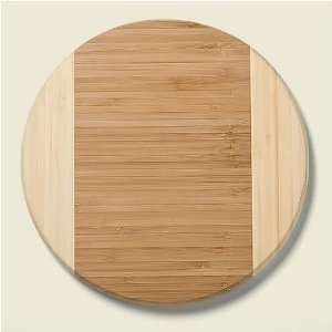 Bamboo Duo Tone 10 inch Diameter Round Cutting Board Kitchen & Dining