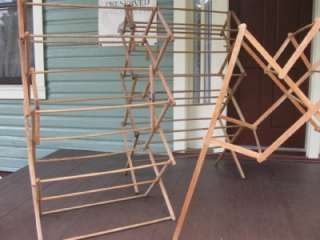 Vintage Antique All Wood Wooden Side Pull Out Laundry Drying Rack #2