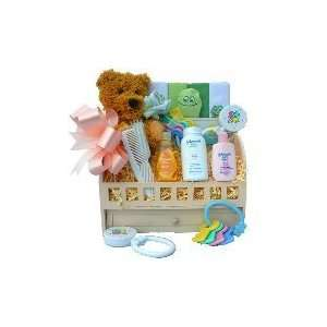 Sweet Baby Bath Time Sampler Gift Basket with Teddy Bear For Boys or
