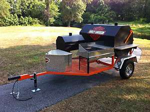 bbq smoker trailer stove grill custom barbecue pit hog cooker Harley