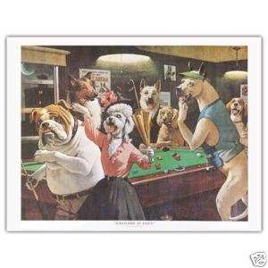 BILLIARDS PRINT SCRATCHED AT DAWN DOGS PLAYING POOL