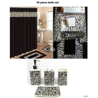 Bath accessory set animal blue zebra print bathroom rug for Zebra print and red bathroom ideas