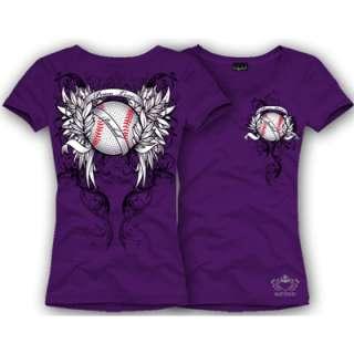 Katydid Purple Peace Love Baseball Rhinestone Shirt   M