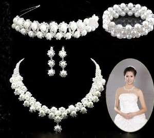 Bridal Wedding Jewelry Crystal Earrings Necklace Bracelet Crown Set