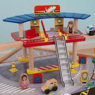 Piece Wood Toy Train Set & Table Airport Brio Thomas Compatible |
