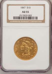 1847, NGC AU 55, $10 GOLD EAGLE, NICE COIN & GOOD VALUE