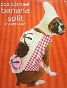 DOG HALLOWEEN COSTUME PUFFY LARGE 25 50 LBS BANANA SPLIT ICE CREAM