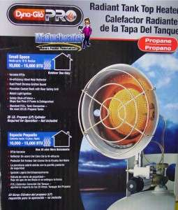 NEW Dyna Glo Radiant LP Propane 20lb Tank Top Heater 10 15bTU RMC