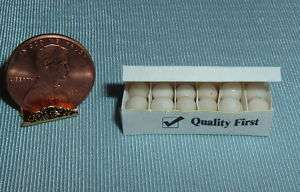 Dollhouse Miniatures White Egg Carton Filled with Eggs