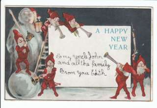 Elf Snowman Horn New Year Years Greeting Old Postcard Vintage Fairy
